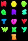 Abstraktes englisches Alphabet des Vektors Komische Art N-Z Lizenzfreie Stockbilder