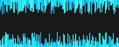Abstraktes Fahnenschablonendesign von den vertikalen Linien in den hellblauen Tönen auf schwarzem Hintergrund Stockfoto