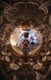Abstraktes fantastisches Plakat oder Hintergrund Futuristische Innenansicht des Fractal Architekturmuster Stockfoto