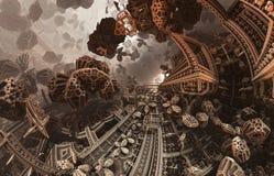 Abstraktes fantastisches Plakat oder Hintergrund Futuristische Innenansicht des Fractal Architekturmuster Stockfotos