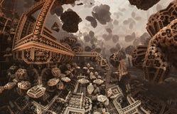 Abstraktes fantastisches Plakat oder Hintergrund Futuristische Innenansicht des Fractal Architekturmuster Stockbilder