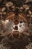 Abstraktes fantastisches Plakat oder Hintergrund Futuristische Innenansicht des Fractal Architekturmuster Stockfotografie