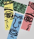 Abstraktes Farbengesicht Stockbild
