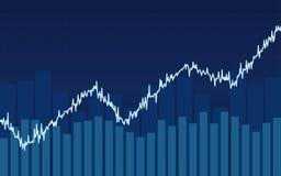Abstraktes Finanzbalkendiagramm mit Aufwärtstrendlinie Diagramm auf blauem Farbhintergrund Lizenzfreies Stockbild