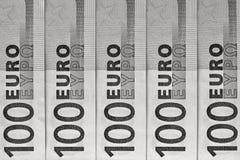 Abstraktes Fragment die Banknote von 100 Euros Stockfotos
