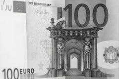 Abstraktes Fragment die Banknote von 100 Euros Stockfoto