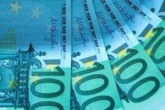 Abstraktes Fragment die Banknote von 100 Euros Stockfotografie
