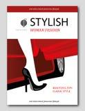 Abstraktes Frau ` s Bein aus schönem rotem Auto heraus Modezeitschriftabdeckungsdesign Stockfotos