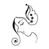 Abstraktes Frauen-Gesicht und Blumen-Illustrations-Kurven-Linie Art Black und Weiß Stockbild