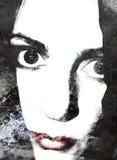Abstraktes Frauen-Lippenportrait Stockbilder
