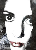 Abstraktes Frauen-Lippenportrait lizenzfreie abbildung