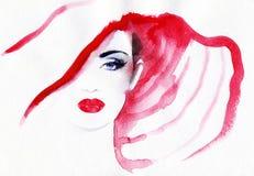 Abstraktes Frauengesicht Art und Weisehintergrund Lizenzfreie Stockfotos