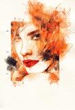 Abstraktes Frauenportrait Art und Weisehintergrund Lizenzfreies Stockfoto