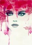 Abstraktes Frauenportrait Art und Weisehintergrund Stockbild