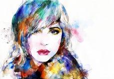 Abstraktes Frauenportrait Art und Weisehintergrund Stockfoto