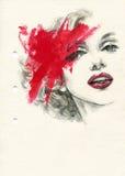 Abstraktes Frauenportrait Art und Weisehintergrund Stockfotos