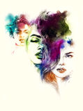 Abstraktes Frauenportrait Art und Weisehintergrund Stockbilder