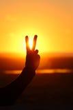 Abstraktes Friedenssymbolschattenbild Stockfoto