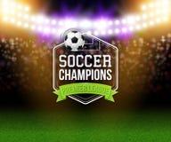 Abstraktes Fußballfußballplakat Stadionshintergrund mit hellem Lizenzfreies Stockfoto