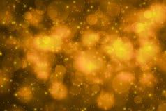 Abstraktes Funkelngold und gelbes bokeh Glühen in der Dunkelheit auf schwarzem Hintergrund, panoramische horizontale Unkosten de stock abbildung