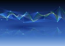 Abstraktes futuristisches - Molekültechnologie mit buntem Wellenhintergrund Lizenzfreie Stockfotografie
