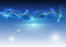 Abstraktes futuristisches - Molekültechnologie mit buntem Wellenhintergrund Stockbild