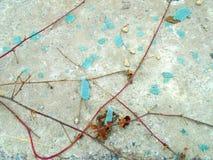 Abstraktes gebrochenes Türkisglas und -Kletterpflanzen Stockfoto