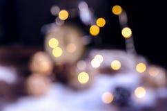 Abstraktes gelbes bokeh Hintergrund für Weihnachten und glückliches neues YE Lizenzfreies Stockfoto