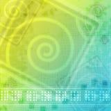 Abstraktes gelbes grün-blaues Stockfotografie