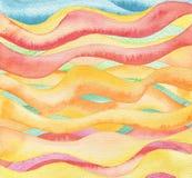 Abstraktes gemalter Hintergrund der Welle Aquarell Stockbild