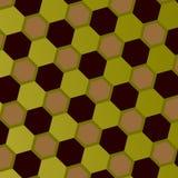 Abstraktes geometrisches Bienenwaben-Muster Art Style Mosaic Background Gray Green Brown Hexagons Aufwändiger geometrischer Hinte Stockbilder
