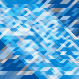 Abstraktes geometrisches Geometrische Formen in den verschiedenen Schatten von Blauem und von Grauem Futuristisches Polygonmuster Stockfotografie
