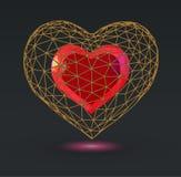 Abstraktes geometrisches Herzsymbol mit niedrigem Poly-wireframe Käfig Lizenzfreie Stockfotos