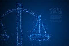 Abstraktes geometrisches Kreispunkt-Pixelmuster stuft Balancenform, blaue Illustration des Urteilkonzeptdesigns Farbein stock abbildung