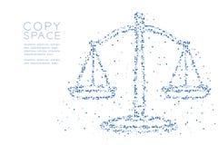 Abstraktes geometrisches Kreispunkt-Pixelmuster stuft Balancenform, blaue Illustration des Urteilkonzeptdesigns Farbein vektor abbildung
