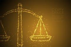 Abstraktes geometrisches Kreispunkt-Pixelmuster stuft Balancenform, Urteilkonzeptdesign-Goldfarbillustration ein vektor abbildung