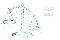 Abstraktes geometrisches Kreispunkt-Pixelmuster stuft Unausgeglichenheitsform, blaue Illustration des Urteilkonzeptdesigns Farbei vektor abbildung