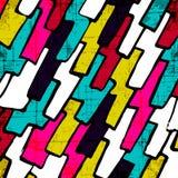 Abstraktes geometrisches Muster der Graffiti auf einem schwarzen Hintergrund Stockfotos