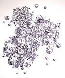Abstraktes geometrisches Muster mit Blumenverzierungen Stockfotografie
