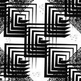Abstraktes geometrisches nahtloses Muster von schwarzen Quadraten auf einem hellen Hintergrund Stockfotografie