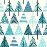 Abstraktes geometrisches nahtloses Wiederholungsmuster mit Weihnachtsbäumen Lizenzfreies Stockfoto