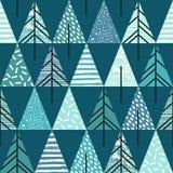 Abstraktes geometrisches nahtloses Wiederholungsmuster mit Weihnachtsbäumen Stockfotos