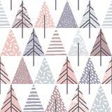 Abstraktes geometrisches nahtloses Wiederholungsmuster mit Weihnachtsbäumen Stockbild