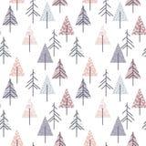 Abstraktes geometrisches nahtloses Wiederholungsmuster mit Weihnachtsbäumen Lizenzfreie Stockbilder