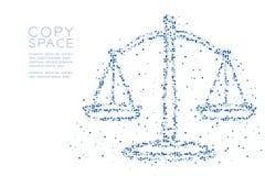 Abstraktes geometrisches Pixelmuster des quadratischen Kastens stuft Balancenform, blaue Illustration des Urteilkonzeptdesigns Fa lizenzfreie abbildung