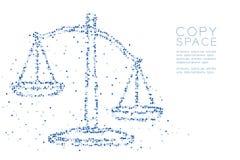 Abstraktes geometrisches Pixelmuster des quadratischen Kastens stuft Unausgeglichenheitsform, blaue Illustration des Urteilkonzep lizenzfreie abbildung