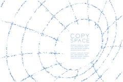 Abstraktes geometrisches Polygon quadratischer Kasten und Dreieck kopieren Rohr Wireframe-Form, blauen Kranken des Internet-Techn Stockfotografie