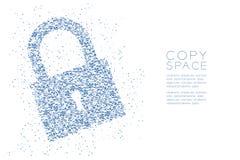 Abstraktes geometrisches Polygon quadratischer Kasten und Dreieck kopieren Verschlussform, blaue Illustration des Sicherheitspriv Stockfotos