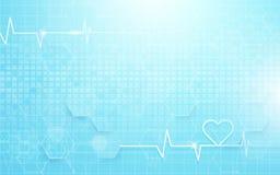 Abstraktes geometrisches und Herzfrequenz Medizin- und Wissenschaftskonzepthintergrund Lizenzfreie Stockfotografie