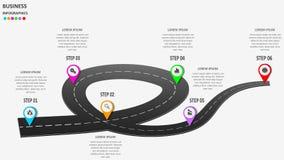 Abstraktes Geschäft infographics in Form einer Automobilstraße mit Fahrbahnmarkierungen, Markierungen, Ikonen und Text ENV 10 Lizenzfreie Stockfotos